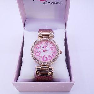 Betsy Johnson Pink Glitter Band Women's Watch